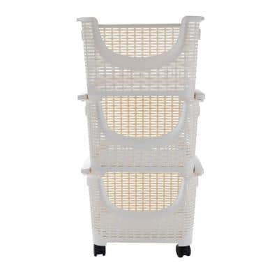 3-Tier 15 Gal. Stackable Rolling Storage Bins in Ivory