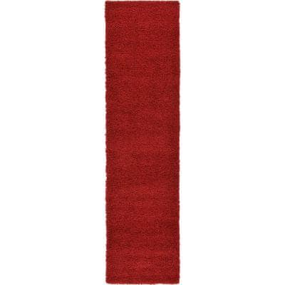 Solid Shag Cherry Red 10 ft. Runner Rug