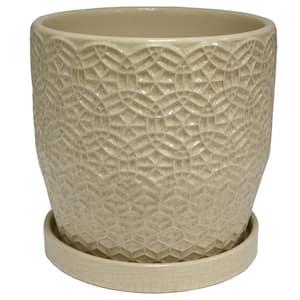 10 in. Dia Cream Rivage Ceramic Planter