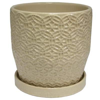 10 in. Dia Cream Rivage Ceramic Planter