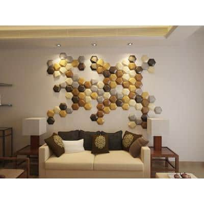 9 in. x 8 in. Soft Leather Decoration Metallic color Wall Applique With Mixed (Set of 12)