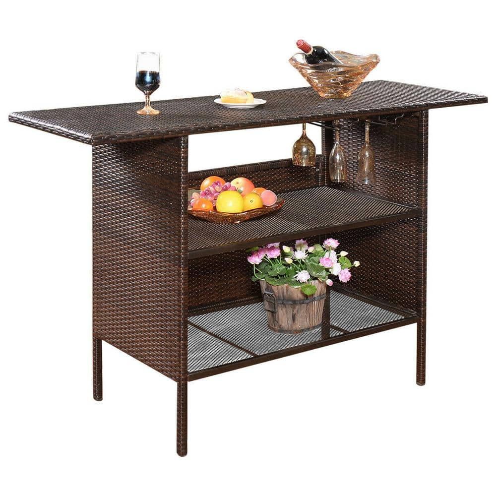 Costway Rattan Wicker Outdoor Serving Bar Counter Table Shelves Garden Patio Furniture In Brown Hw52884 The Home Depot