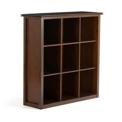 Holden 44.6 in. Russet Brown Solid Wood Contemporary 9-Cube Standard Bookcase
