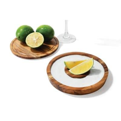 3-in-1 Brown Acacia Wood Salt Rimmer, Cutting Board and Storage Container