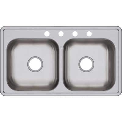 Dayton Drop-In Stainless Steel 33 in. 4-Hole Double Bowl Kitchen Sink with 6.5 in. Bowl