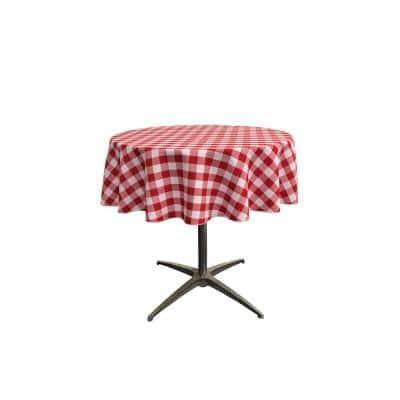 51 in. White and Red Polyester Gingham Checkered Round Tablecloth
