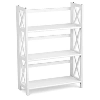 38 in. H White New Finish Solid Wood 3-Shelf Etagere Bookcase