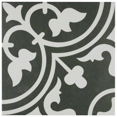 Arte Black Encaustic 9-3/4 in. x 9-3/4 in. Porcelain Floor and Wall Tile (11.11 sq. ft. / case)