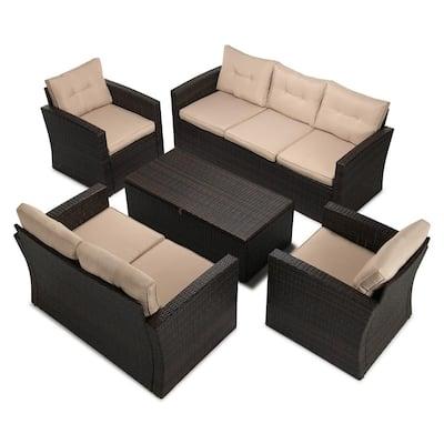 5-Piece Wicker Patio Conversation Furniture Set with Beige Cushions