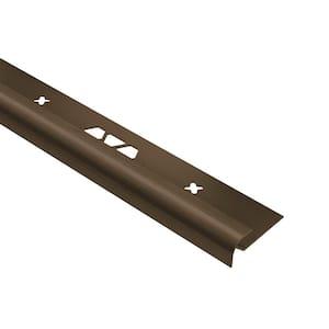Vinpro-RO Brushed Antique Bronze Anodized Aluminum 1/8 in. x 8 ft. 2-1/2 in. Metal Bullnose Resilient Tile Edge Trim