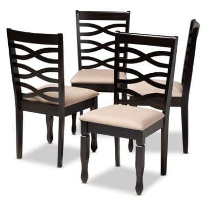 Lanier Sand Brown and Espresso Fabric Dining Chair (Set of 4)