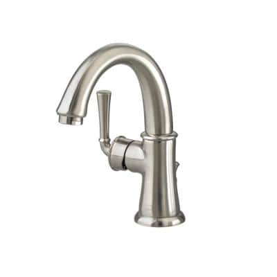 Portsmouth Monoblock Single Hole Single Handle Mid-Arc Bathroom Faucet with Speed Connect Drain in Brushed Nickel