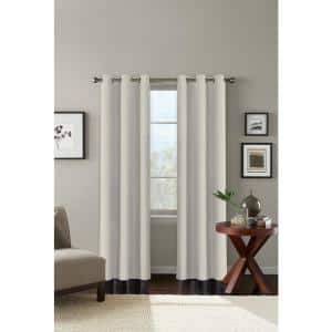 Almond Milk Solid Polyester 42 in. W x 84 in. L Grommet Blackout Curtain Panel