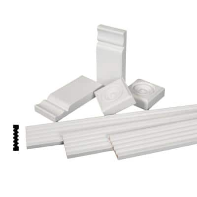 11/16 in. x 3-1/8 in. x 84 in. Primed Finger-Jointed Pine Wood Fluted Casing Moulding Set (7-Pack)