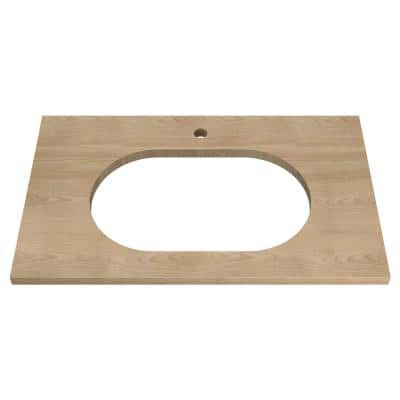 Studio S 33 in. Above Counter Sink Top with Single Faucet Hole in Ash