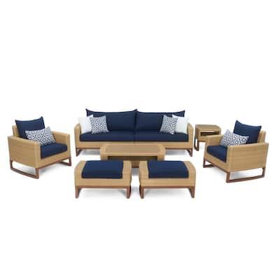 Mili 8-Piece Wicker Patio Deep Seating Conversation Set with Sunbrella Navy Blue Cushions