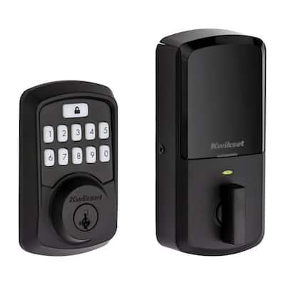 Aura Matte Black Single Cylinder Electronic Bluetooth Keypad Smart Lock Deadbolt featuring SmartKey Security