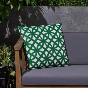 Mod Gate Green and White Square Outdoor Throw Pillow