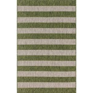 Outdoor Distressed Stripe Green 7 ft. x 10 ft. Area Rug