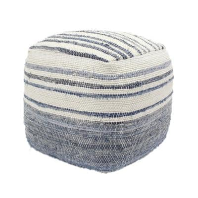 Chrissa Blue and White Cube Pouf