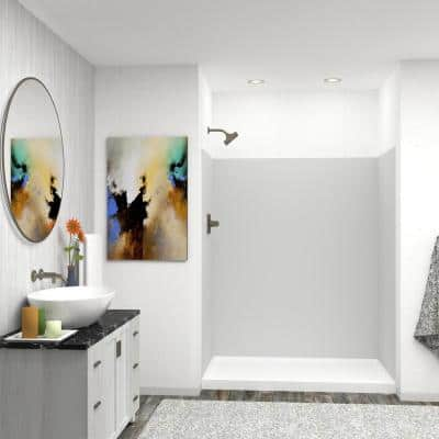 Expressions 32 in. x 60 in. x 72 in. 3-Piece Easy Up Adhesive Alcove Shower Wall Surround in Grey