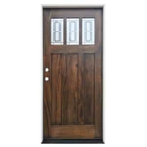 36 in. x 80in. Espresso Right-Hand Inswing 3-Lite Decorative Glass Stained Mahogany Prehung Front Door w/ 6-9/16in. Jamb