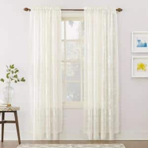 Ivory Solid Lace Rod Pocket Sheer Curtain - 58 in. W x 63 in. L