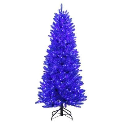 6 ft. Pre-Lit Shiny Blue Fraser Artificial Christmas Tree with Warm White and Blue Color-Changing LED Lights