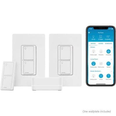 Caseta Wireless Smart Lighting Switch Starter Kit with Pico Remote and 2 Switches