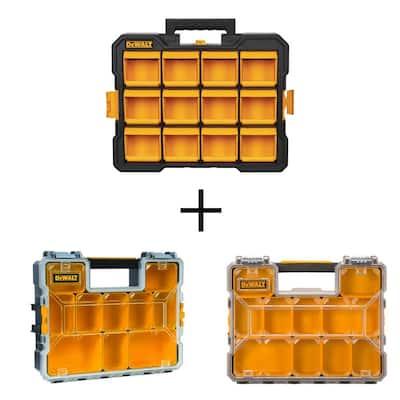 3-Piece Organizer Combo (12-Compartment Flip Bin Small Parts Organizer, 10-Compartment Deep Pro and Shallow Organizers)