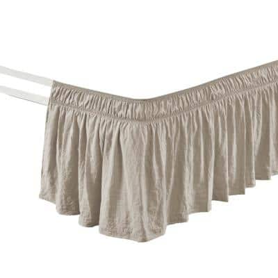 Ruched 20 in. Drop Length Ruffle Elastic Easy Wrap Around Neutral Single Queen/King/Cal King Bed Skirt