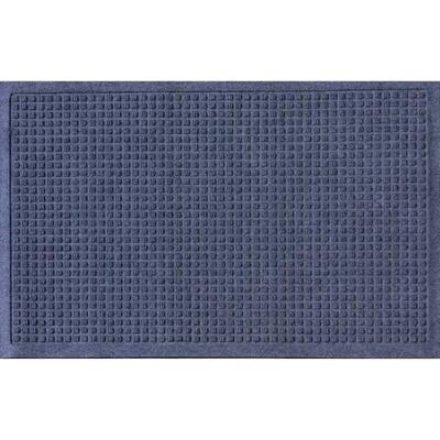 Aqua Shield Squares 18 in. x 27 in. PET Polyester Door Mat Navy