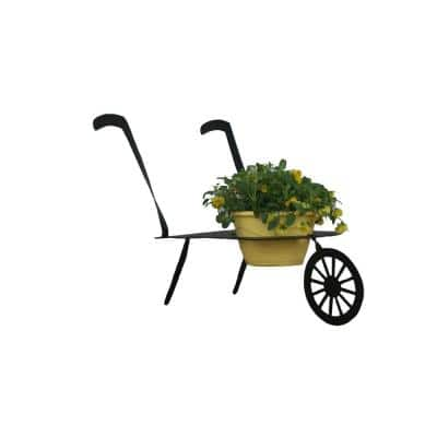 WheelBarrow Design Lawn Art 22.5 in. H x 34 in. W x 16 in. D with 8.25 in. Opening Grey Metal 3D Standing Planter