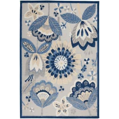Aloha Blue/Grey 5 ft. x 8 ft. Floral Contemporary Indoor/Outdoor Area Rug