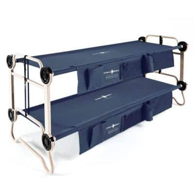 Large Cam-O-Bunk Benchable Double Cot with Organizers, Navy Blue