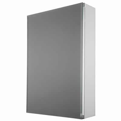 15 in. x 26 in. Decor Recessed or Surface Mount Medicine Cabinet in Silver