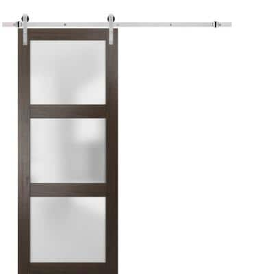 Lucia 2552 36 in. x 96 in. 3-Panel Frosted Brown Finished Solid Wood Sliding Barn Door with Hardware Kit