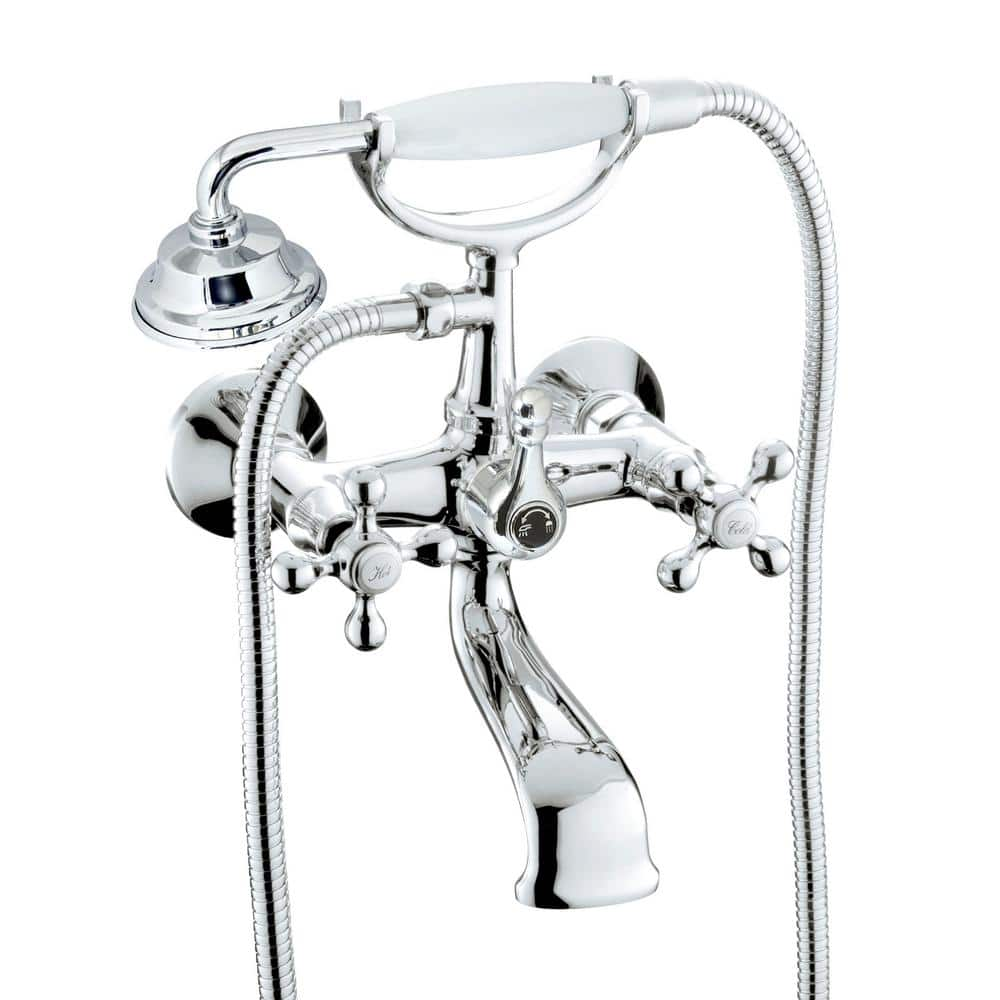 modona classic 6 in 2 handle 1 spray tub and shower faucet with porcelain hand held shower in polished chrome valve included bl33x a the home