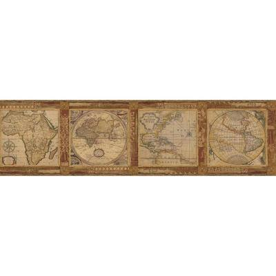 Oliver Burnt Sienna Map Burnt Sienna Wallpaper Border