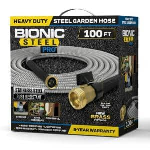 Pro 5/8 in. Dia. x 100 ft. Heavy-Duty Stainless Steel Garden Hose with Brass Fitting