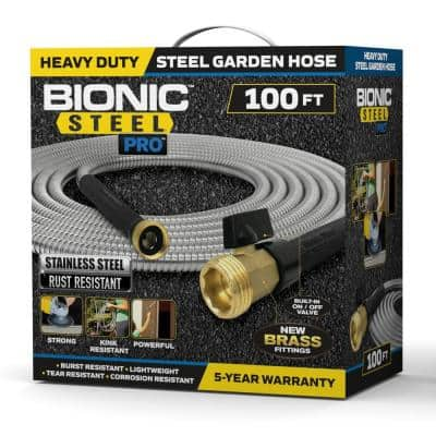 Pro 100 ft. Heavy-Duty Stainless Steel Garden Hose with Brass Fitting