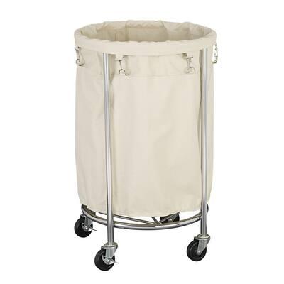 Round Heavy-Duty Laundry Hamper on Wheels