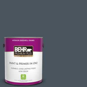 1 gal. #N480-7 Midnight Blue Eggshell Enamel Low Odor Interior Paint and Primer in One