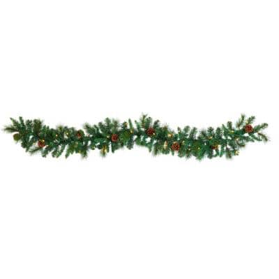 6 ft. Battery Operated Pre-lit Mixed Pine and Pinecone Artificial Garland with 35 Clear LED Lights