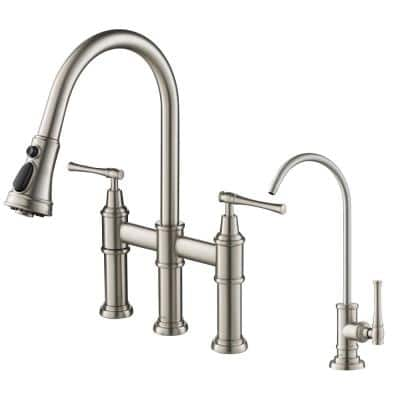Allyn Transitional 2-Handle Bridge Kitchen Faucet andWater Filtration Faucet in Spot Free Stainless Steel