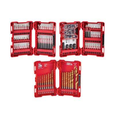 SHOCKWAVE Impact Duty Alloy Steel Drill and Screw Driver Bit Set and Titanium Drill Bit Set (123-Piece)