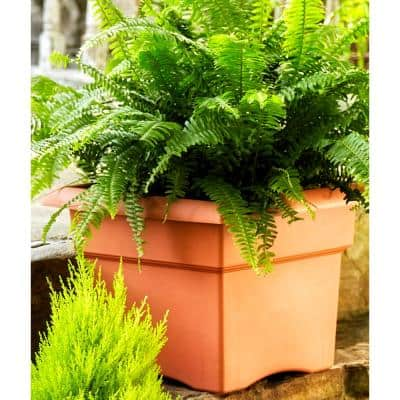 Veranda Square 18 in. Black Plastic Deck Box Planter