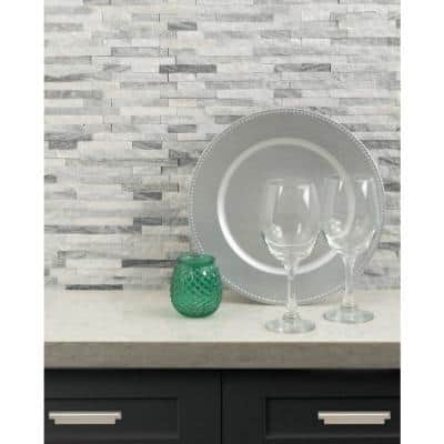 Alaska Gray Splitface 12 in. x 12 in. x 10 mm Textured Marble Mesh-Mounted Mosaic Tile (1 sq. ft.)