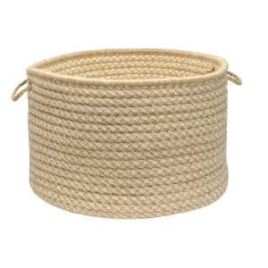 Natural Wool 24 in. x 24 in. x 14 in. Dogstooth Basket in Tea