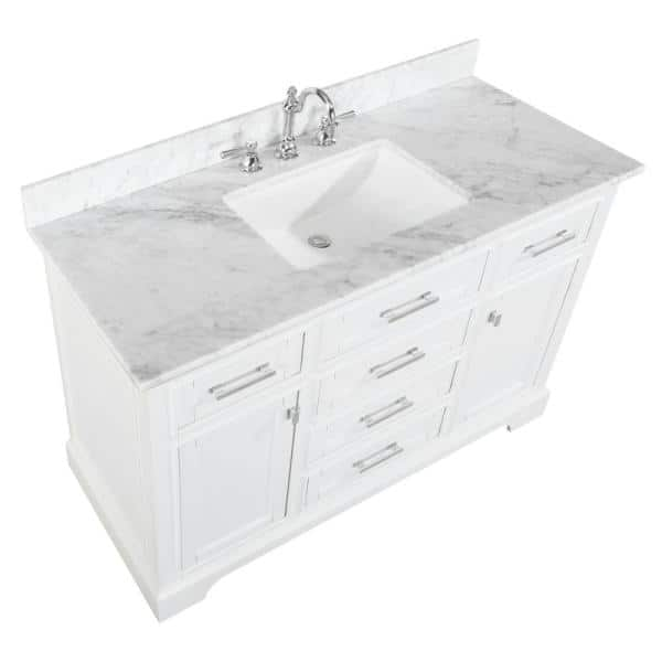 Design Element Milano 48 In W X 22 In D Bath Vanity In White With Carrara Marble Vanity Top In White With White Basin Ml 48 Wt The Home Depot